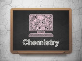 Education concept: Computer Pc and Chemistry on chalkboard background — Stock fotografie