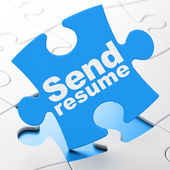 Business concept: Send Resume on puzzle background — Stockfoto