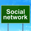 Social media concept: Social Network on road sign background — Stock Photo