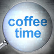 Time concept: Coffee Time with optical glass — Φωτογραφία Αρχείου