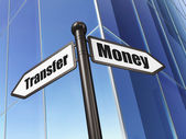 Finance concept: sign Money Transfer on Building background — Stok fotoğraf