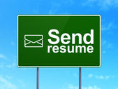 Business concept: Send Resume and Email on road sign background — Stock Photo