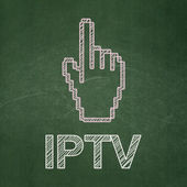 Web development concept: Mouse Cursor and IPTV on chalkboard background — Stok fotoğraf