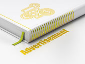 Advertising concept: book Calculator, Advertisement on white background — Stock Photo