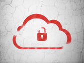 Cloud networking concept: Cloud With Padlock on wall background — Stock Photo