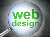 SEO web design concept: Web Design with optical glass — Stockfoto