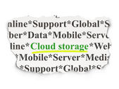 Cloud networking concept: Cloud Storage on Paper background — 图库照片