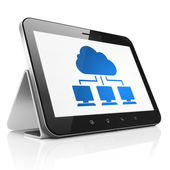 Cloud technology concept: Cloud Network on tablet pc computer — Foto Stock