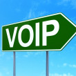 Web design concept: VOIP on road sign background — Stock Photo #42954987
