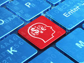 Business concept: Head With Finance Symbol on computer keyboard background — Foto de Stock