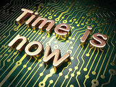 Timeline concept: Time is Now on circuit board background — Stock Photo