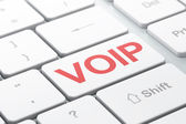 SEO web development concept: VOIP on computer keyboard background — Stok fotoğraf