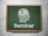 Education concept: Head With Finance Symbol and Seminar on chalkboard background — Zdjęcie stockowe