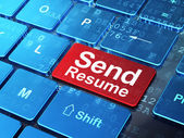 Finance concept: Send Resume on computer keyboard background — Stock Photo