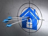 Finance concept: arrows in Home target on wall background — Stock Photo