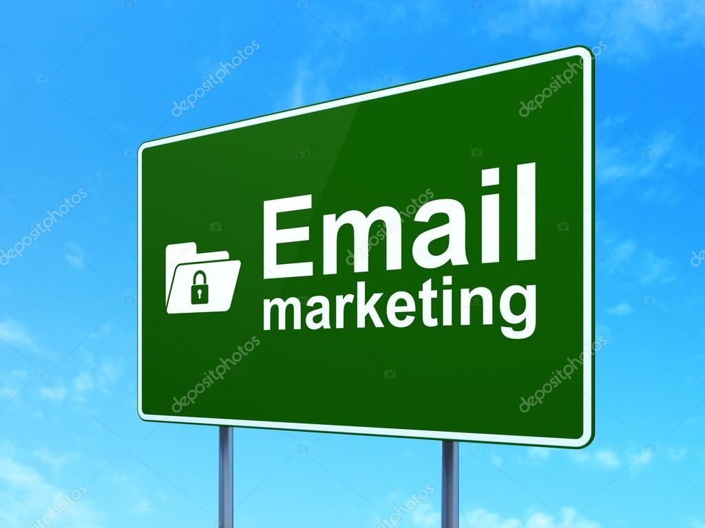 Business concept: Email Marketing and Folder With Lock on ...