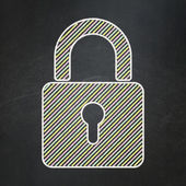 Information concept: Closed Padlock on chalkboard background — Stock Photo