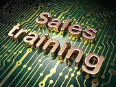 Marketing concept: Sales Training on circuit board background — Stockfoto