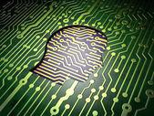 Concepto de datos: cabeza sobre fondo de placa de circuito — Foto de Stock