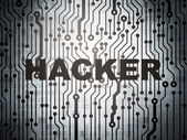 Security concept: circuit board with Hacker — Stock Photo