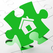 Business concept: Home on puzzle background — Stock Photo