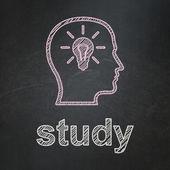 教育理念: 头用灯泡和黑板背景研究 — 图库照片