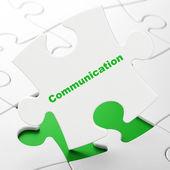 Marketing concept: Communication on puzzle background — Stockfoto