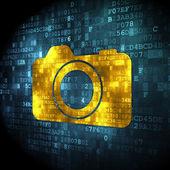 Conceito de turismo: câmera fotográfica digital fundo — Fotografia Stock