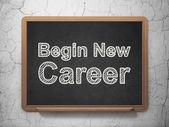 Unser geschäftskonzept: beginnen neue karriere auf tafel hintergrund — Stockfoto