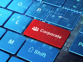 Business concept: Business People and Corporate on computer keyboard background — Stock Photo
