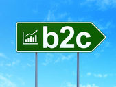Business concept: B2c and Growth Graph on road sign background — Stock Photo