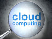 Cloud technology concept: Cloud Computing with optical glass — Stock Photo