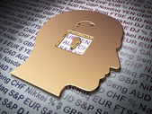 Business concept: Golden Head With Padlock on Money background — Stock Photo