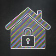 Privacy concept: Home on chalkboard background — Stock Photo