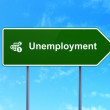Finance concept: Unemployment and Calculator on road sign background — Stock Photo