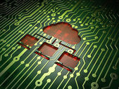 Cloud networking concept: Cloud Network on circuit board background — Stock Photo