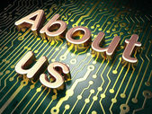 Marketing concept: About Us on circuit board background — Stock Photo