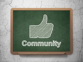 Social media concept: Thumb Up and Community on chalkboard background — Стоковое фото