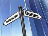 Education concept: sign Online Education on Building background — Stockfoto