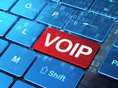 Web design concept: VOIP on computer keyboard background — Stock Photo