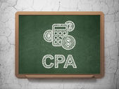 Finance concept: Calculator and CPA on chalkboard background — Photo