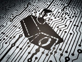 Privacy concept: circuit board with Cctv Camera — Foto Stock