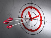 Timeline concept: arrows in Clock target on wall background — Foto Stock