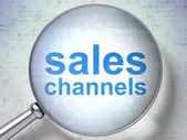 Marketing concept: Sales Channels with optical glass — Stock Photo