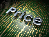 Advertising concept: Price on circuit board background — Stock Photo