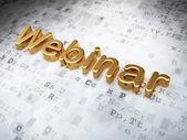 Concetto di educazione: webinar dorata su sfondo digitale — Foto Stock