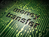 Business concept: Money Transfer on circuit board background — Stock Photo