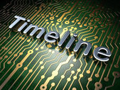 Time concept: Timeline on circuit board background — Foto Stock