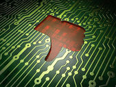 Social network concept: Thumb Down on circuit board background — Stock Photo
