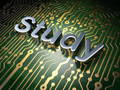 Education concept: Study on circuit board background — Stok fotoğraf